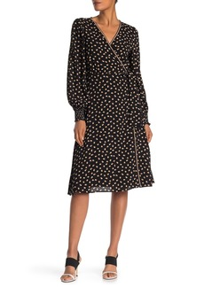 Max Studio Dot Print Balloon Sleeve Wrap Dress