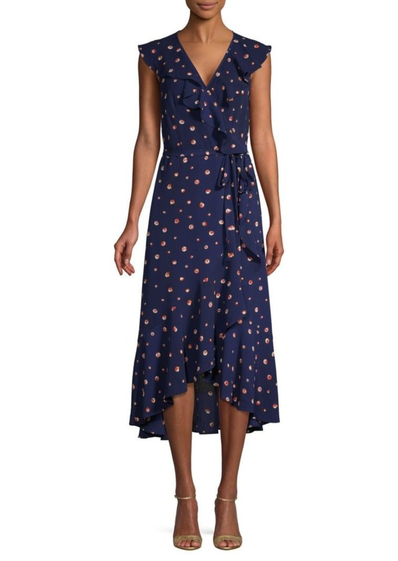Max Studio Dot Print Ruffle Wrap Dress