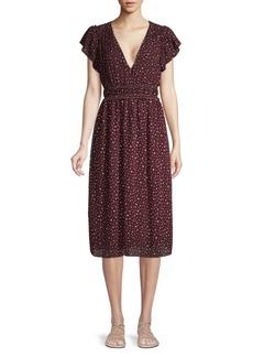 Max Studio Dot-Print Smocked Dress