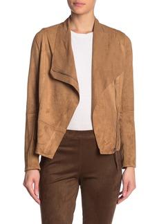 Max Studio Draped Zip Front Faux Suede Jacket