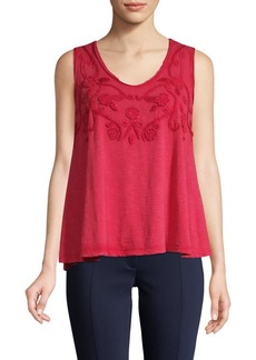 Max Studio Embroidered Cotton Tank Top