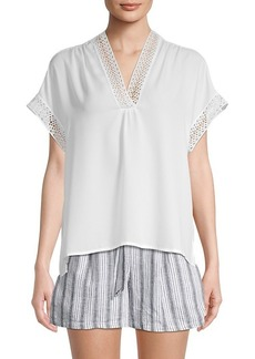 Max Studio Embroidered Eyelet-Trimmed High-Low Top
