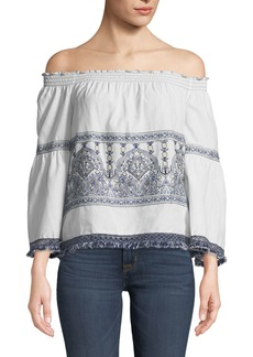 Max Studio Embroidered Off-The-Shoulder Blouse