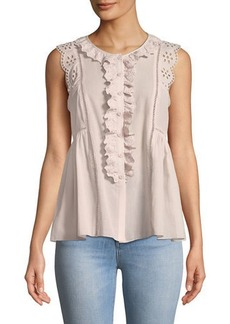 Max Studio Eyelet-Trimmed Button-Front Tank Blouse
