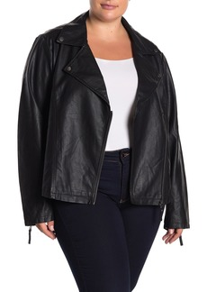 Max Studio Faux Leather Moto Jacket (Plus Size)