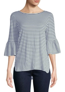 Flare-Sleeve Striped Top