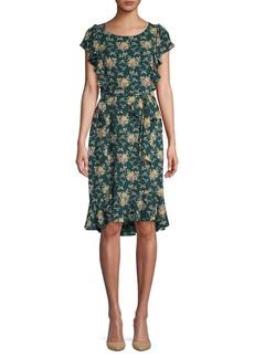 Max Studio Floral Bubble Crepe Dress