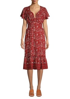 Max Studio Floral Flounce-Hem Dress