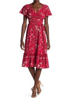 Max Studio Floral Flutter Sleeve Midi Dress