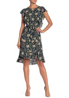 Max Studio Flutter Sleeve Tie Waist Dress