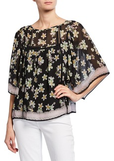 Max Studio Floral Kimono-Sleeve Top
