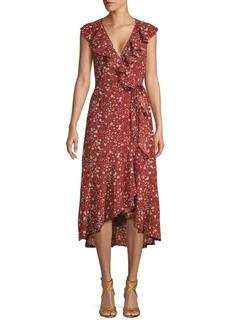 Max Studio Floral Midi Wrap Dress