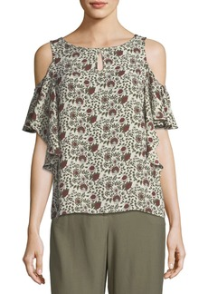 Max Studio Floral-Print Cold-Shoulder Blouse