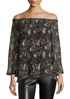 Max Studio Floral-Print Plisse Off-the-Shoulder Blouse
