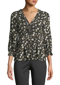 Max Studio Floral-Print Ruffed Button-Front Blouse