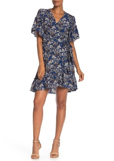 Max Studio Floral Print Wrap Ruffle Dress