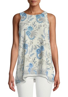 Max Studio Floral-Printed Georgette Trapeze Blouse