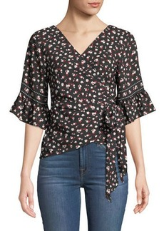 Max Studio Floral Ruffle-Sleeve Wrap Blouse