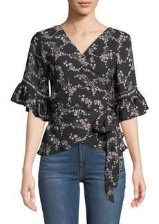 Max Studio Floral Ruffle-Sleeve Wrap Blouse