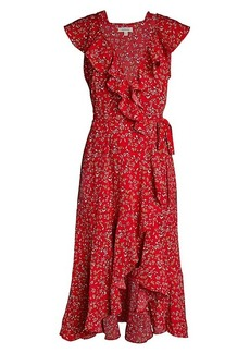 Max Studio Floral Ruffle Wrap Dress
