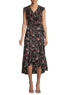 Max Studio Floral Ruffle Wrap Dress