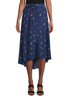 Max Studio Floral Self-Tie Bow Skirt