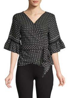 Max Studio Patterned Dot Self-Tie Top