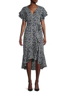 Max Studio Floral Short-Sleeve Wrap Dress