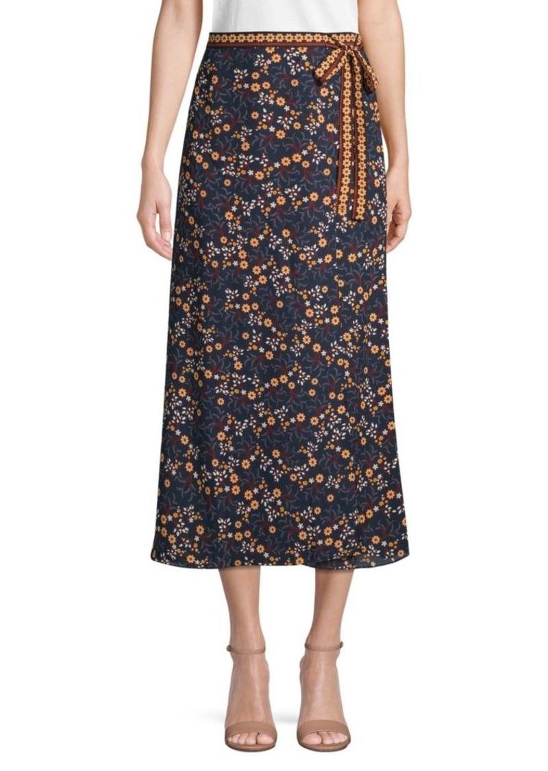 Max Studio Floral Side Tie Skirt