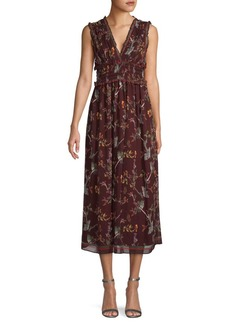 Max Studio Floral Smocked Maxi Dress