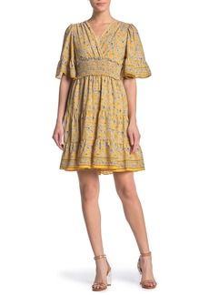 Max Studio Floral Surplice Neck Ruffled Dress