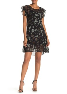 Max Studio Floral Tiered Ruffle Hem Dress