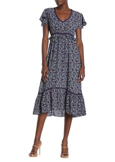 Max Studio Floral V-Neck Ruffle Dress