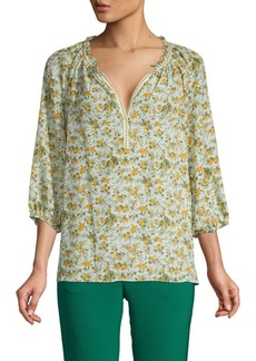 Max Studio Floral V-Neck Top