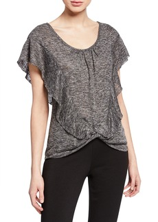 Max Studio Flounce Twisted-Hem Top