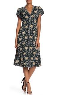 Max Studio Flutter Sleeve Floral Midi Dress