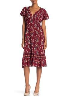 Max Studio Flutter Sleeve Ruffle Midi Dress