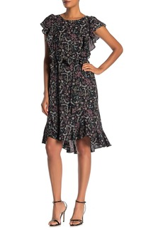 Max Studio Flutter Sleeve Tie Waist Dress