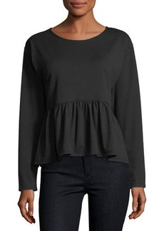 Max Studio French Terry Ruffled Hi-Lo Peplum Top