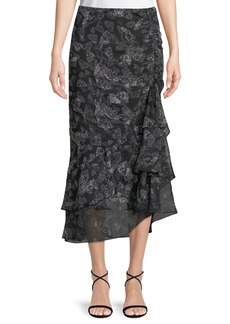 Max Studio Gathered-Ruffle Butterfly-Print Maxi Skirt