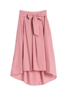 Max Studio Gingham Print Tie Front Skirt