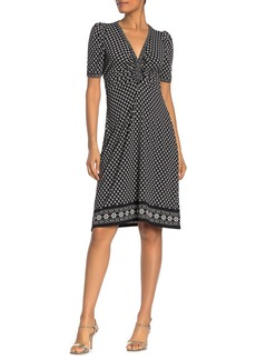 Max Studio Half Sleeve Cinch Printed Dress