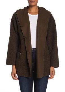 Max Studio Hooded Faux Shearling Knit Jacket
