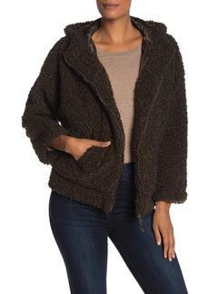 Max Studio Hooded Faux Shearling Zip Jacket