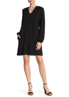 Max Studio Hooded Sweatshirt Shift Dress