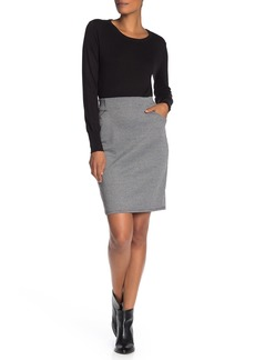 Max Studio Houndstooth Knit Pencil Skirt