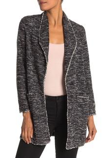 Max Studio Knit Tweed Open Front Sweater