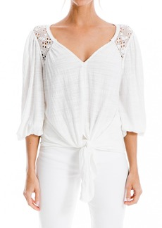 Max Studio Lace Inset 3/4 Sleeve Tie Hem Blouse