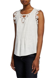 Max Studio Linen Lace Tank Top