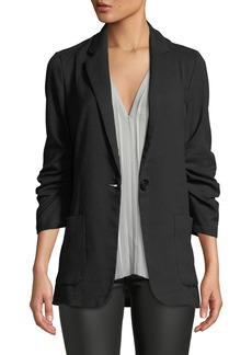Max Studio Long Ruched-Sleeve Blazer